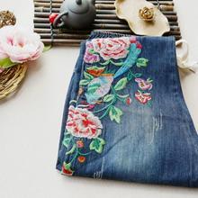 Пион вышивка Шнурок талии джинсовые брюки Лодыжки длина брюки карман джинсов весна
