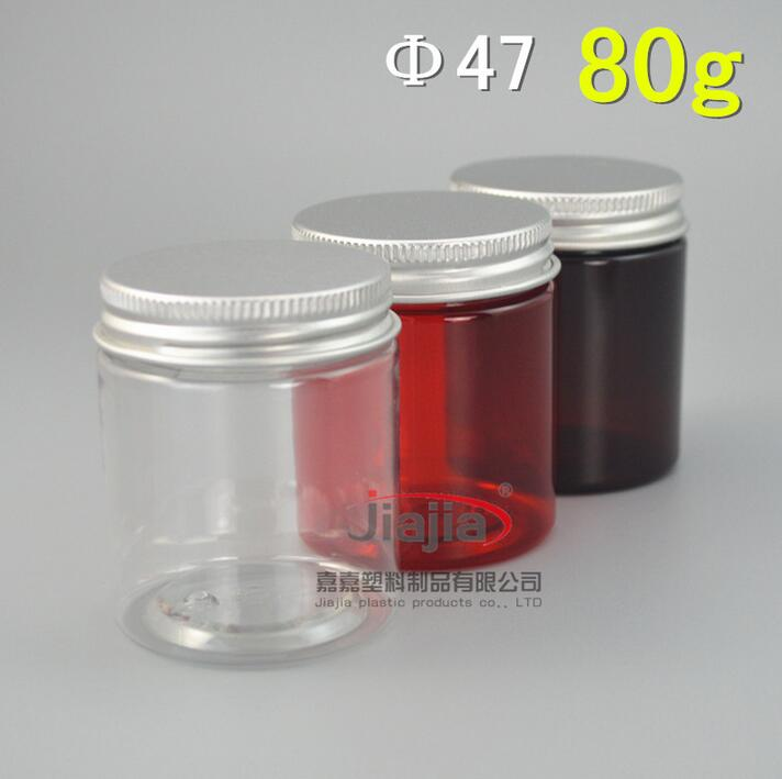 80ml Empty Container for Styling Gel Hair Wax 80g Cream Jar,80g clear/red/brown PET Jar with silver/gold aluminum lid