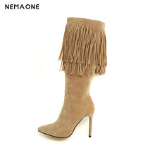 NEMAONE Sexy high heels knee high tassel women Boots autumn Winter Ladies boots party dancing shoes woman large size 43