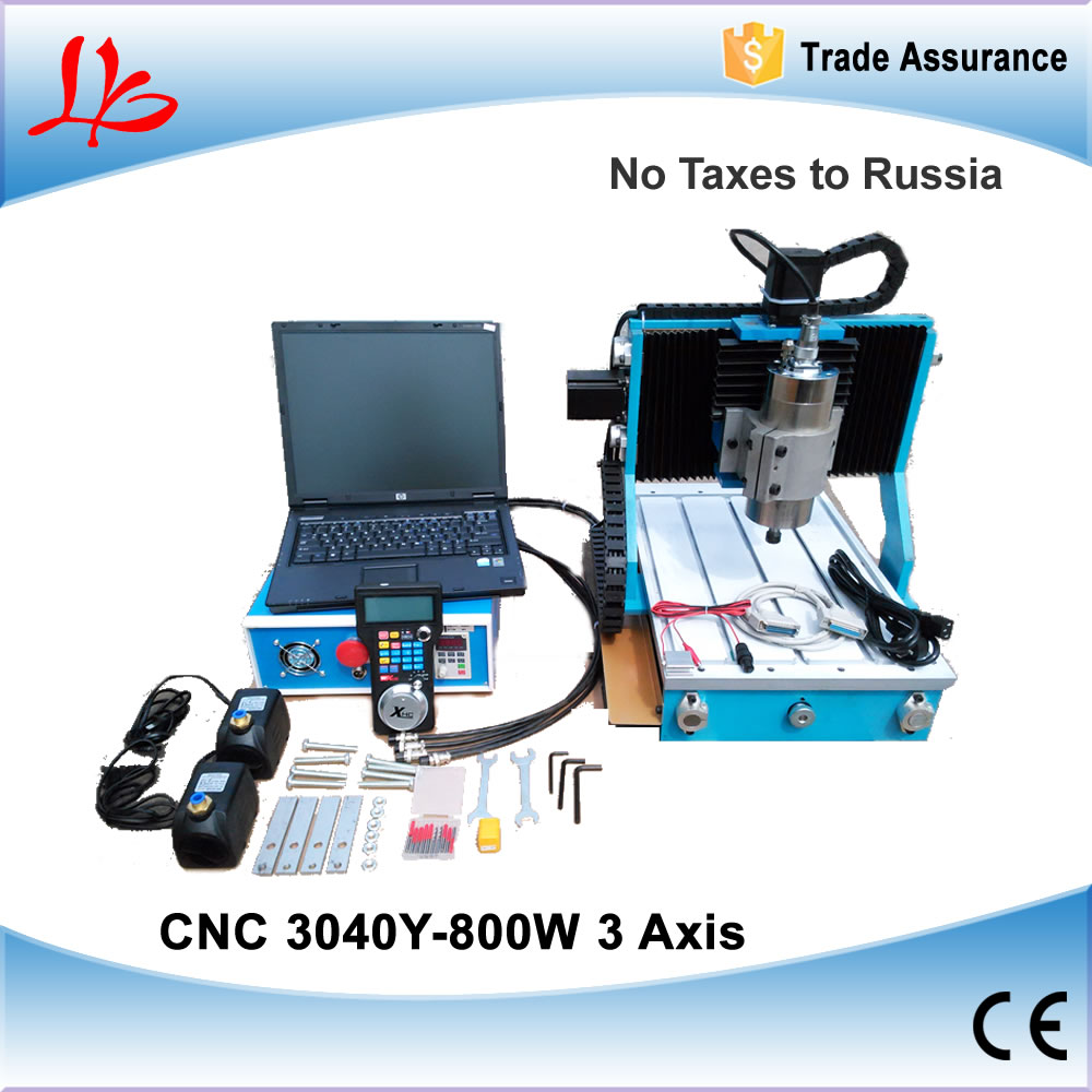 Russia Ukraine NO TAX, CNC 3040 Mini CNC Router With Circular Rail Axis 800W Spindle PCB Metal Milling Machine for Woodworking russia tax free cnc woodworking carving machine 4 axis cnc router 3040 z s with limit switch 1500w spindle for aluminum