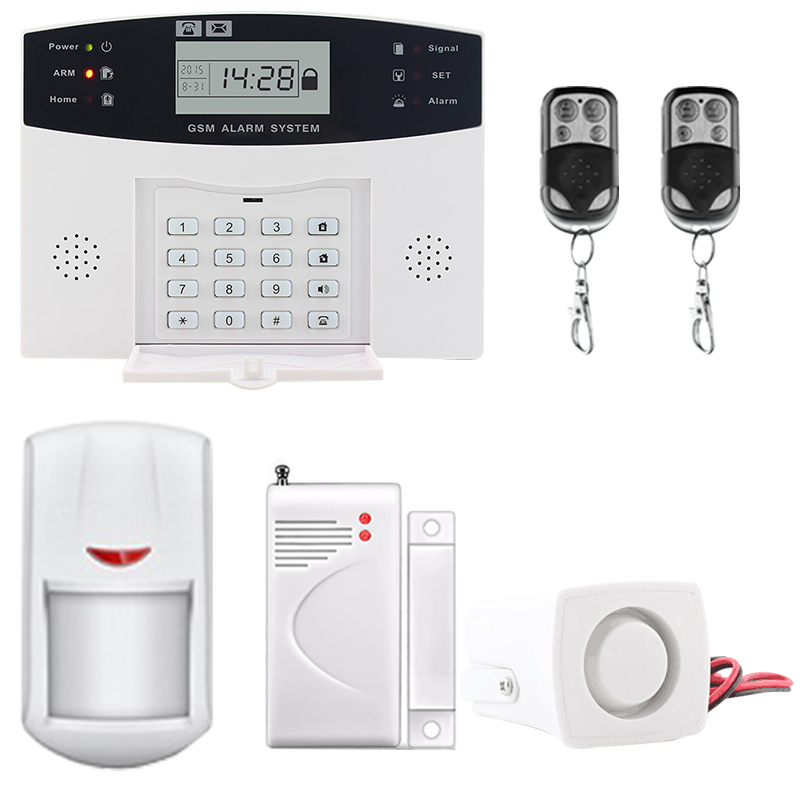 LCD Display Wireless GSM &Home Security Alarm System SMS and Smoke Sensor Russian/English/Spanish/French voice russian french spanish voice quad band gsm home security alarm system gsm sms intercom lcd display with door security sensor