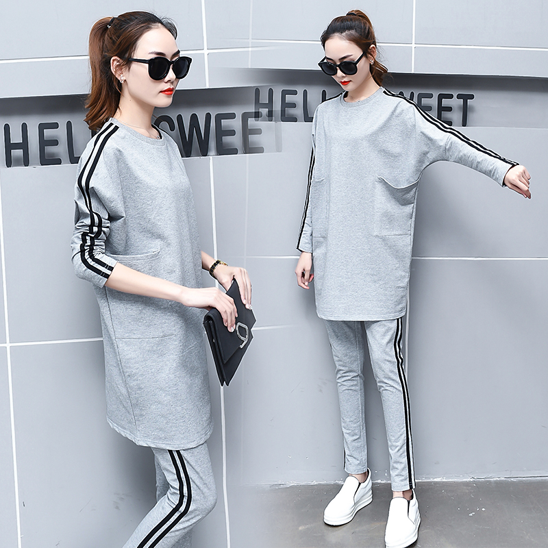 A Woman Loose Long Top amp Slim Pants 2 Pcs Clothing Set 2017 Spring New Women 39 S Clothing Stripe Fashion Leisure Suits Size S 3XL in Women 39 s Sets from Women 39 s Clothing