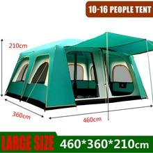 Açık büyük çadır 460*360*210 Cm büyük parti kamp Tented kampları aile kabin çadır 5 8 10 erkek 12 14 16 kişi uzun barınak