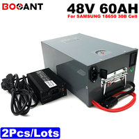 2 pcs 48 V 60ah 2000 w bicicleta elétrica da bateria + uma caixa de metal 48 13 S v scooter de lítio carregador de bateria para Samsung 30B 18650 celular + 5A