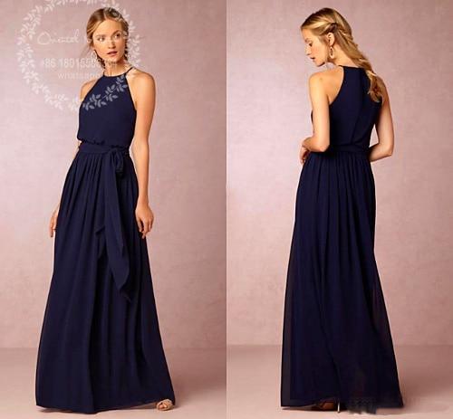Blue Halter Bridesmaid Dress