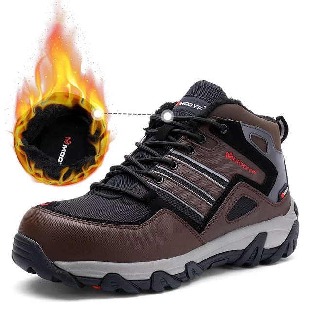 MODYF Men Steel Toe Work Safety Shoes Casual Reflective Outdoor Boots Puncture Proof Footwear Sneaker Winter Warm Fur 4