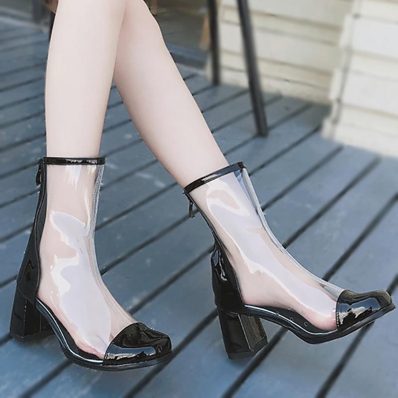 Beauté Heel Femmes Black Chaussures 5cm Bottes 6 Mode Fenty Hauts Zip white Transparent Heel Carré Cheville Noir Bout Talons Pvc Dames Épais Blanc 7BSxdgwxqT
