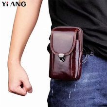 YIANG Men Belt Bag Waist Packs Soft Genuine Leather Mobile Phone Fanny Pack Small Pouch Multifunction brown