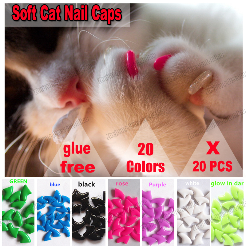 20pcs/lot  Soft Cat Silicone Nail Caps Soft Cat Paw Pet Nail Protector With Adhesive Glue And Applicator Size Xs S M L