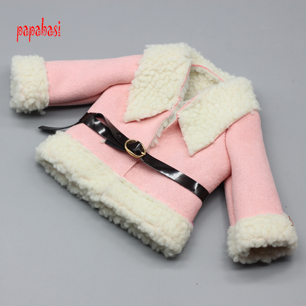 1PCS Outfit Coat and Belt for 18'' American Girl Flower Winter Coat +Belt Fit 45 CM doll Mini Clothes pink wool coat doll clothes with belt for 18 american girl doll