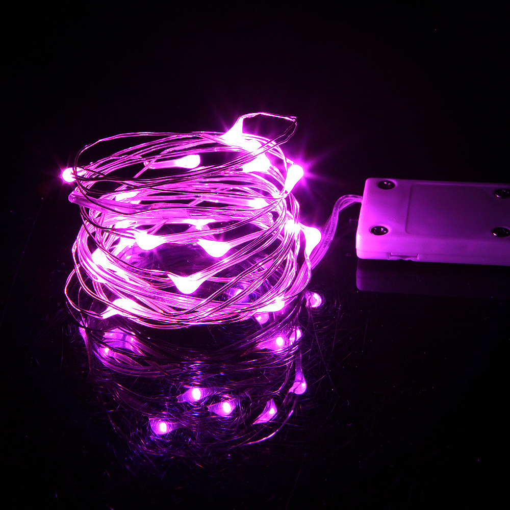 Медный провод огни строки 2 м 20LED Рождественские огни Фея для свадьбы, вечерние украшения управляется CR2032 Батарея (в комплекте)