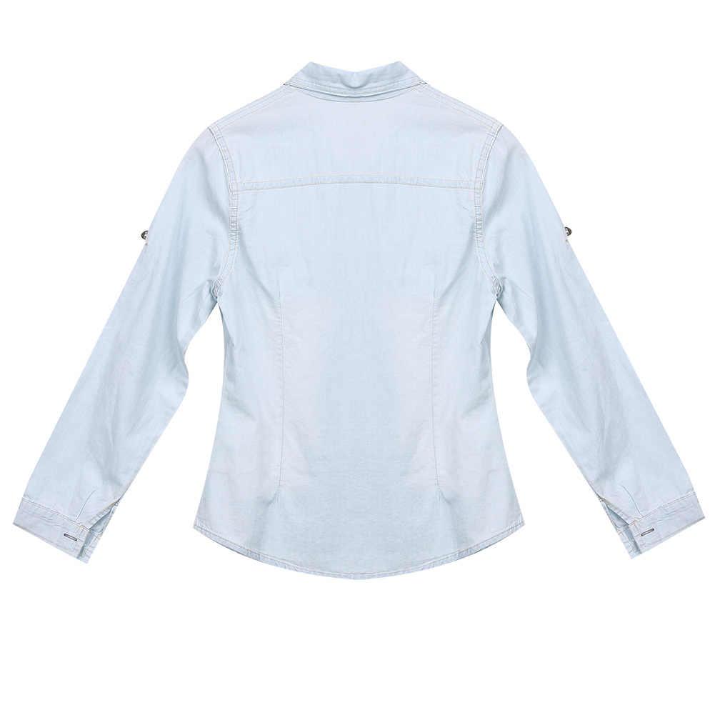 وصول الرجعية النساء عارضة الأزرق جان لينة الدنيم طويلة الأكمام قميص قمم بلوزة قميص نسائي البلوزات أعلى دروبشيبينغ