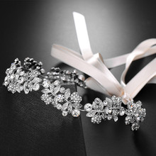 SLBRIDAL Wired Rhinestones Crystal Alloy Wedding Tiara Headband Bridal Headpieces Hair Accessories Bridesmaids Women Jewelry