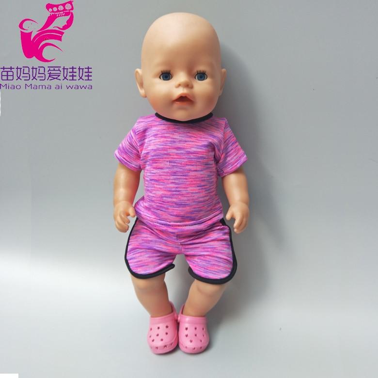Dolls Purple sport set Fits For 43cm Baby Born Zapf doll fashionsummer short shirt pants