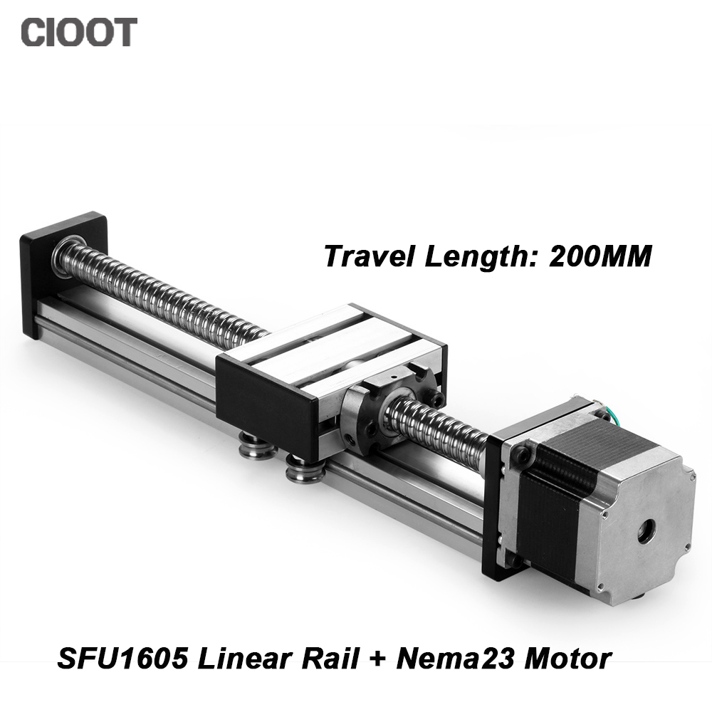 все цены на  SFU1605 linear guide rail 16 linear rail cnc 200mm linear stage linear guide rail + 23 nema stepper motor  онлайн