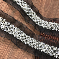 5.7 Yards Black Mesh Pearl Beaded Ribbon Lace Trim For Wedding Applique, Bridal Sash, Gorgeous Beads And Pearls