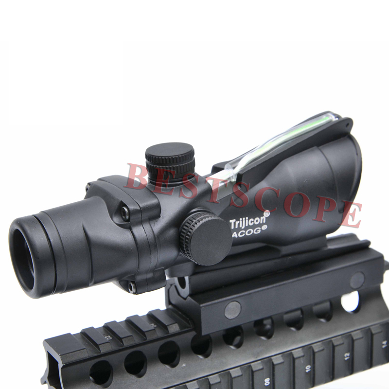 Tactical Trijicon ACOG 4X32 Optical Rifle Scope Real Fiber Optics Green Illuminated Crosshair Hunting Riflescopes tactical trijicon acog style 4x32 real fiber optics red illuminated crosshair scope w rmr micro red dot hunting riflescopes