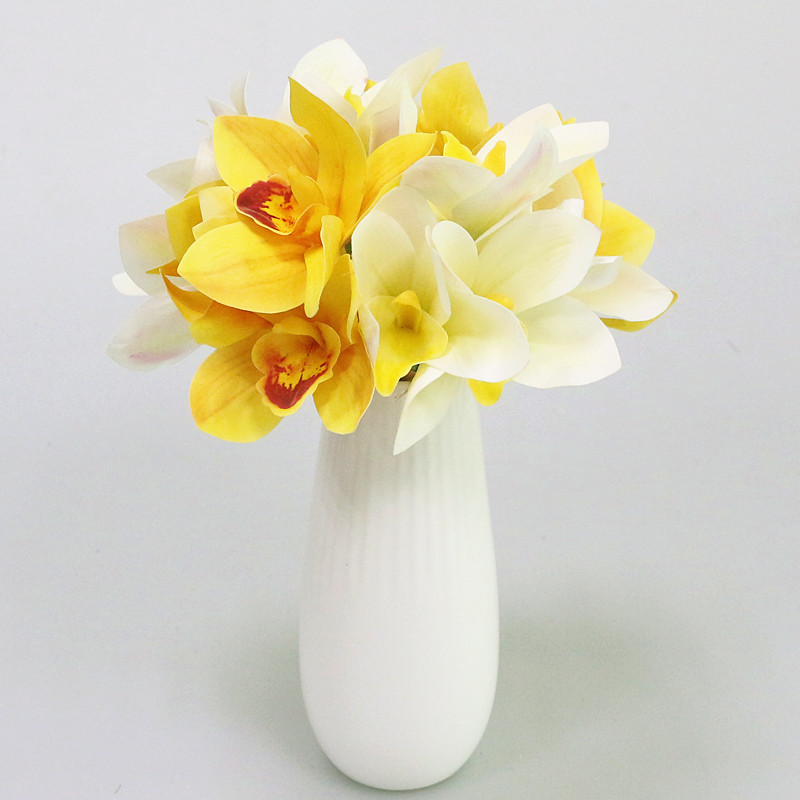 Flone Artificial Real Touch Cymbidium Simulation Small Orchid Flower ...