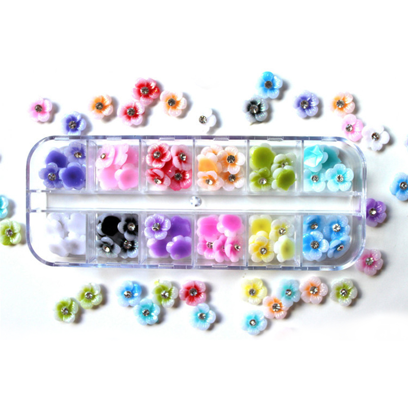 12 Colors 3D Flower Nail Art Decorations Flowers for Nails Rhinestone Nail Charms Natura ...