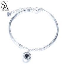 Sa silverage Настоящее стерлингового серебра 925 планета браслет-цепочка для женщин Fine Jewelry черный авантюрин Ясно CZ Новое поступление 2017 года