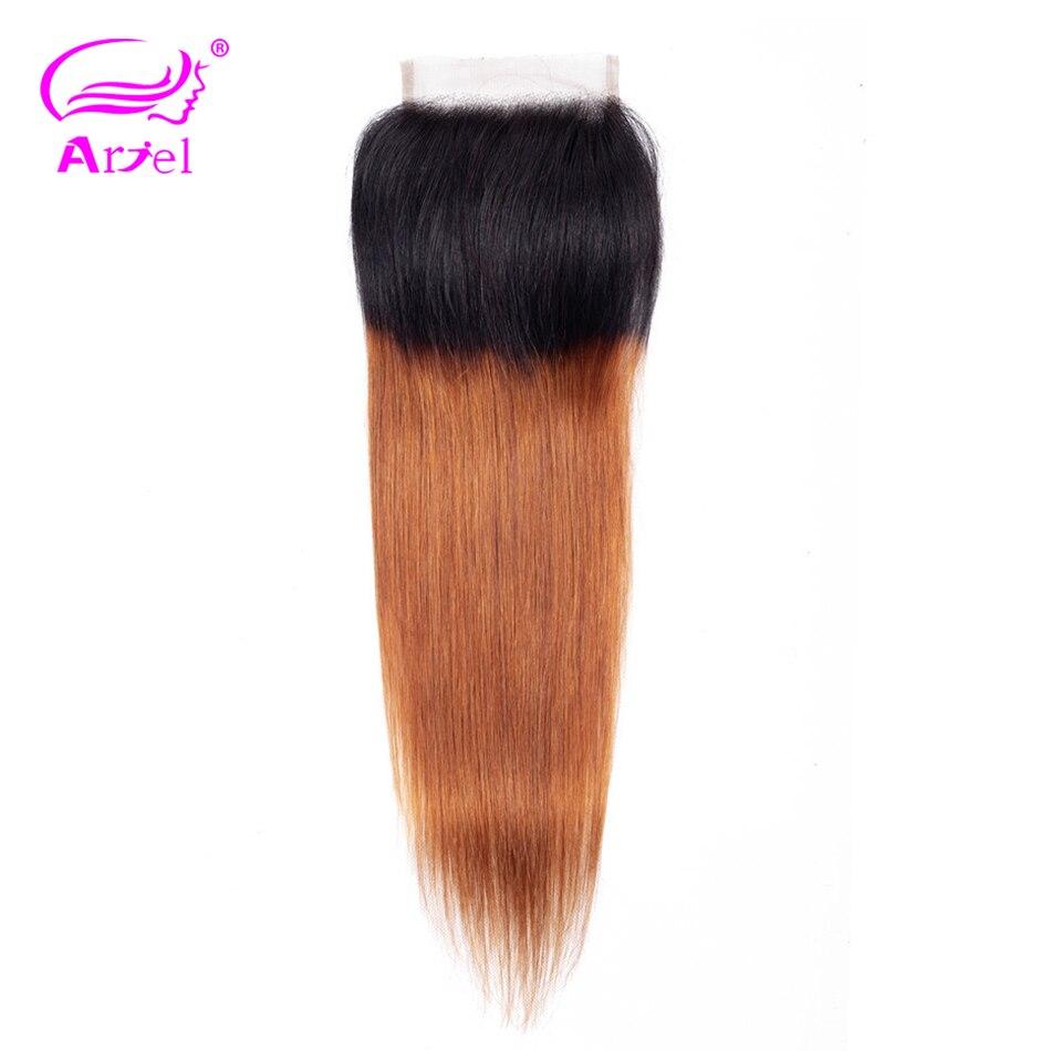 ARIEL Lace Closure Human-Hair Blonde Ombre Brazilian Free-Part Non-Remy Color Straight