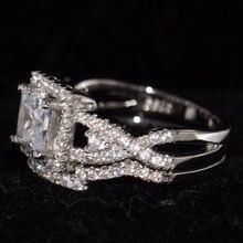 Victoria Original  Desgin Luxury Jewelry 925 Sterling Silver Princess Cut 5A Zirconia CZ Square Women Wedding Bridal Ring Set