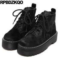 Creepers Thick Sole Genuine Leather Fur Designer Shoes China Women Elevator Black Harajuku Flats Female Muffin Latest Spring