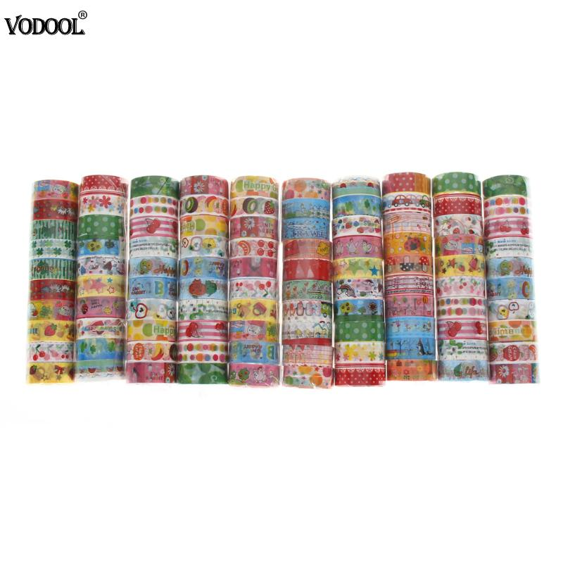 10 pc VODOOL Cute Cartoon Washi Tape Sticky Adhesive Sticker Scrapbooking DIY Decorative Adhesive Tape Set Masking Paper Tapes