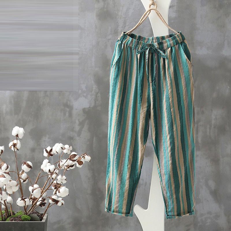 Summer Fashion Women Pants Plus Size Loose Casual Elastic Waist Striped Harem Pants Vintage Cotton Linen Ankle-length Pants D125
