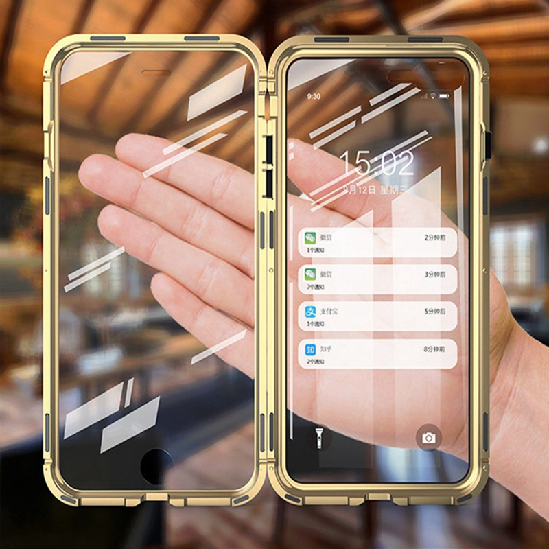360 Double Sided Glass Magnetic Adsorption Phone Case For iPhone 7 8 6 6S Plus XR