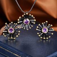 ZHE FAN 2018 New Jewelry Sets For Women Round Cut AAA Cubic Zirconia Black Gold Color