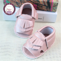 Suede Leather Baby Moccasins Shoes Soft Princess Shoes Pink Fringe Solid Hard Rubber Sole Baby Shoes First Walker Yoddler Z22