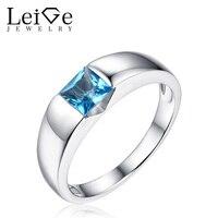 925 Sterling Silver London Blue Topaz Ring Square Cut Bezel Setting Natural Gemstone Rings For Women