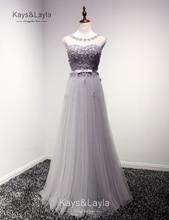 Elegante Appliques Perlen Grau Abendkleider 2016 A-linie Organza O-ansatz Flügelärmeln Party Abend Grown vestido de festa