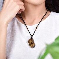 Tự nhiên Vàng Tiger eye Đá Mặt Dây Chuyền Khắc Tuyệt Vời Pixiu Vòng Cổ Lucky Amulet Mang Lại Sự Giàu Đàn Ông Phụ Nữ Jades Đồ Trang Sức Miễn Phí Rope