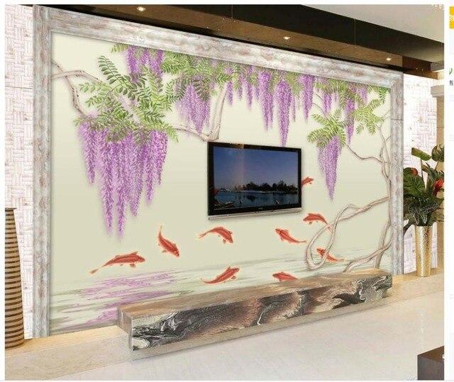 3d murales carta da parati dipinta a mano pesce glicine for Carta da parati moderna soggiorno