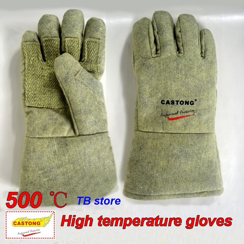 500 degrees heat insulation gloves High temperature resistant gloves to hot flame retardant anti-scald fire Aramid fiber woven high quality anti skid wear resistant cotton gloves 800 degree fire insulation flame retardant glove suit for bbq microwave oven