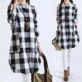 Women Tops Plus Size Women Clothing Plaid Blouses Long Sleeve Women Blouses Cotton Linen Women Shirts Casual Vintage tops