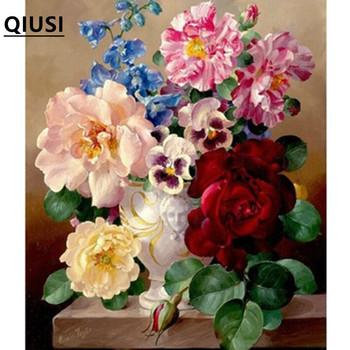 Robótki majsterkowanie ściegiem krzyżykowym zestaw do haftu wazon stołowy róża piwonia nadruk w kwiaty wzór krzyża ścieg ręczny malowanie tanie i dobre opinie QIUSI Obrazy Floral PACKAGE 100 COTTON Duszpasterska Składane Peony flowers cross stitch embroidery