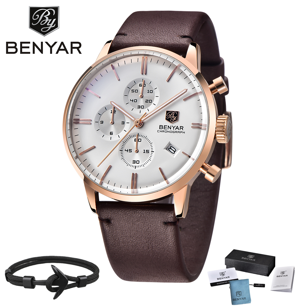 BENYAR New Fashion Luminous Leather Strap Multifunction Watches Men Quartz Watch Waterproof Wristwatches Male relogio masculino kezzi men watches sports waterproof quartz watch luxury brands leather strap watches wristwatches relogio masculino relojes