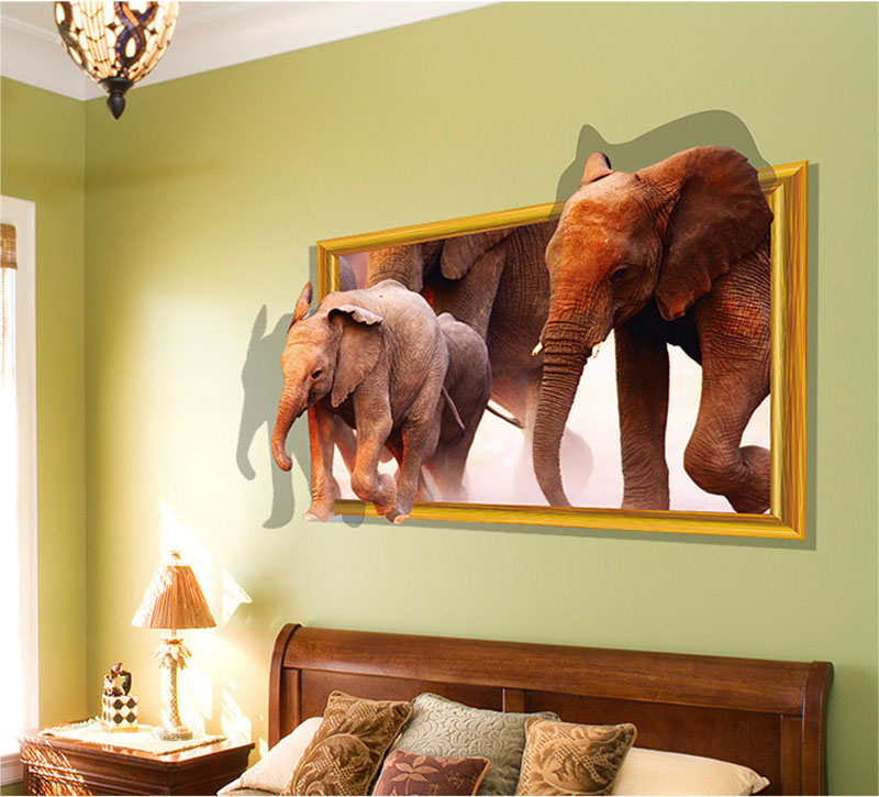 Aliexpress Com Buy Fundecor Diy Home Decor Running Elephant Fake Window 3d Wall Sticker Home Decoration Wall Frames For Room Decoracao From Reliable