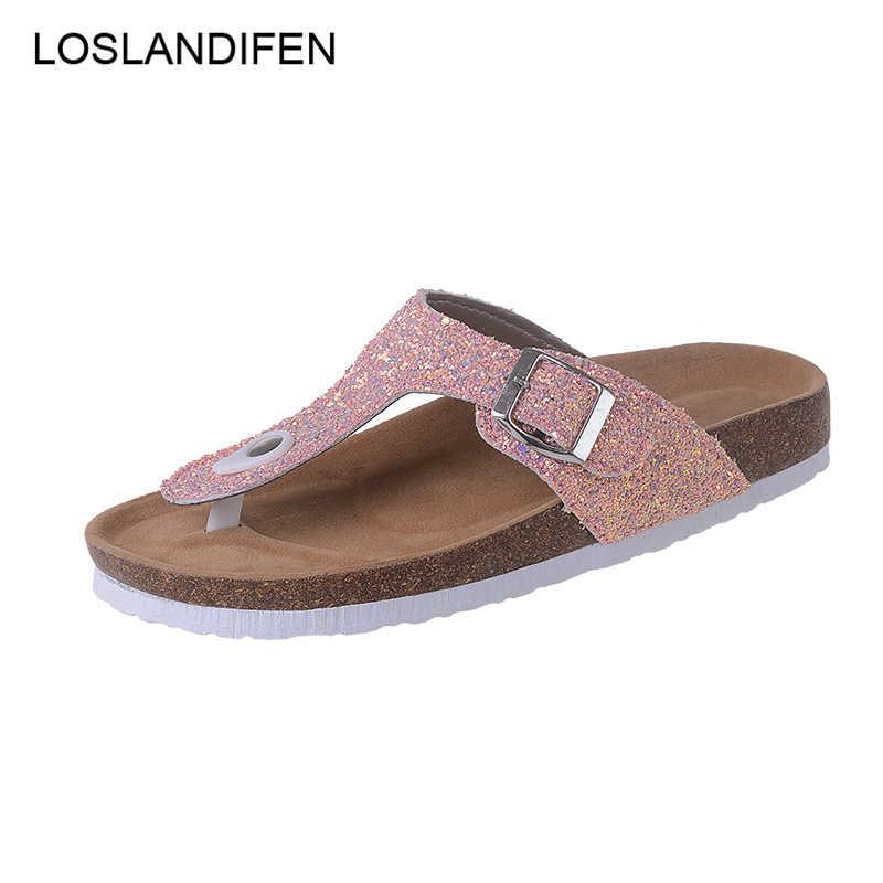 9379cde918f37 2018 Summer Women Beach Cork Slippers Casual Sandals Sequins Slides Double Buckle  Clogs Women Slip on