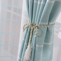European and American style  plaid design jacquard shading curtains for living room  bedroom window treatments high level