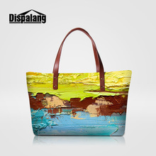 Dispalang colorful painting women's handbags women evening totes bags famous brand luxury top-handle bag girls summer beach bags