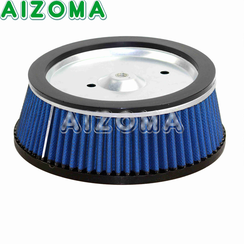 Blue Replacement Air Filter Element Motorcycles High Flow Air Cleaner For Harley Softail Fat Boy Road King Dyna FLSTFI  2001-08