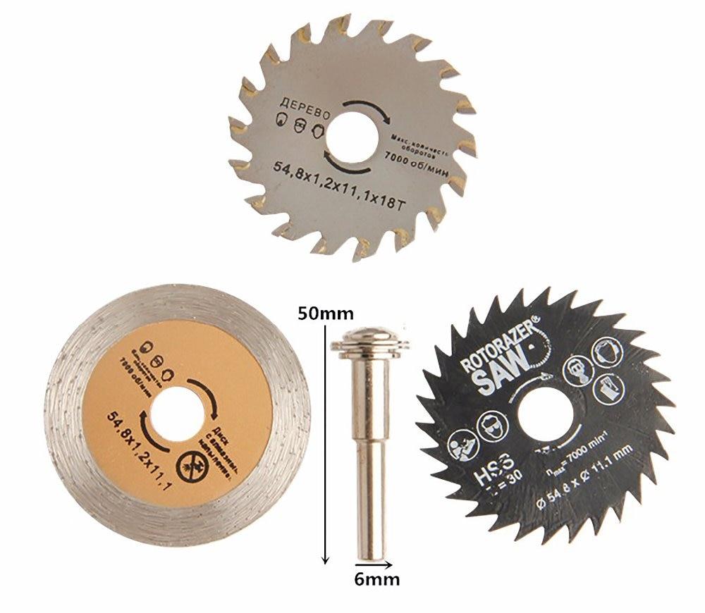 4pcs Circular Saw Blades HSS Rotary Tool Saw Blades Diamond Cutting Wheel Cutting Discs Mandrel for Dremel Power Tool