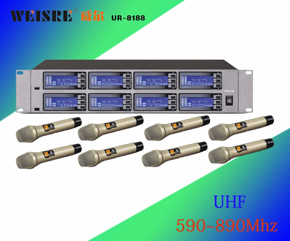 Wireless System UR-8188 Professional Microphone 8 Channel UHF Professional 8 Handheld Microphone Stage Karaoke Wireless Micropho
