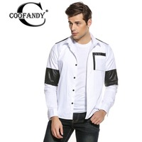 COOFANDY Casual Shirt Men Brand Male Fashion Shirt Top Quality Cotton Long Sleeve Contrast Leather Patchwork