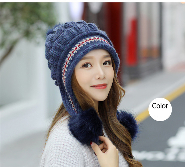 New Autumn And Winter Korean Version Of The Warm Women Hat Gloves Set Knitted Hair Ball Two Sets Of Ladies Thickening HC37 (13)