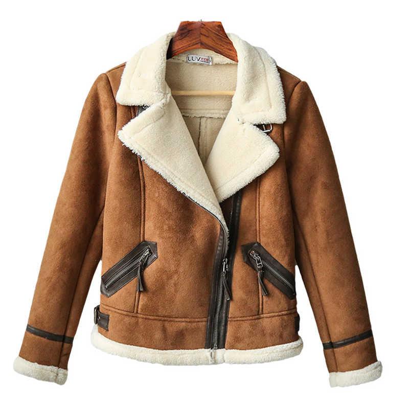 c2f1f346622 New 2018 Faux Shearling Sheepskin Coats Women Thick Suede Jackets Women  Autumn Winter Lambs Wool Short Motorcycle Coats LF918